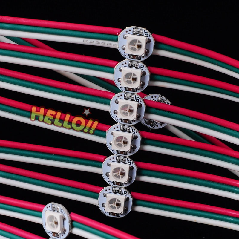 1000Pcs Pre wired 5050 WS2812B SK6812 WS2812 Full Color RGB LED Chip Heatsink with 12cm colorful
