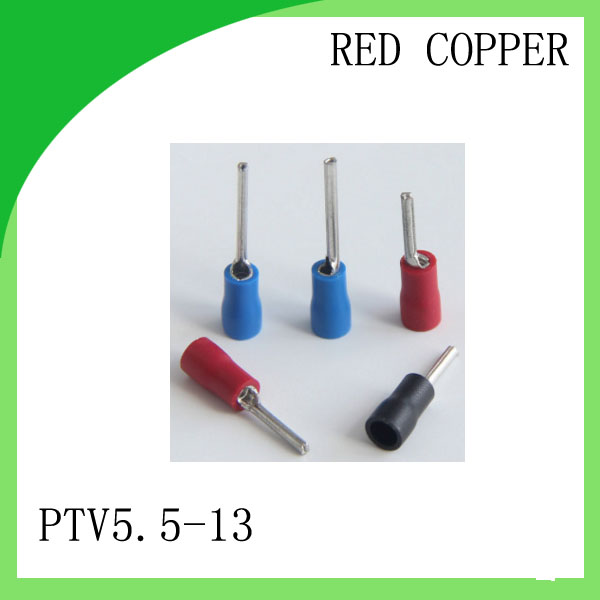 red copper 1000 PCS PTV5.5-13 Cold Pressed Terminal Connector Suitable for 12AWG - 10AWG Pin Pre-insulating wire terminal rnb3 5 10 circular naked terminal type to cold pressed terminals cable connector wire connector 1000pcs pack