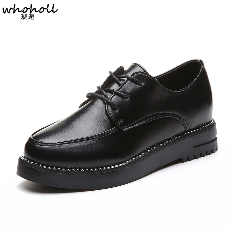 WHOHOLL Shoes Women Patent Leather Lace Up Pointet Toe Flat Female Casual Shoes Spring Autumn Flat Platform Oxfords Ladies Shoes front lace up casual ankle boots autumn vintage brown new booties flat genuine leather suede shoes round toe fall female fashion