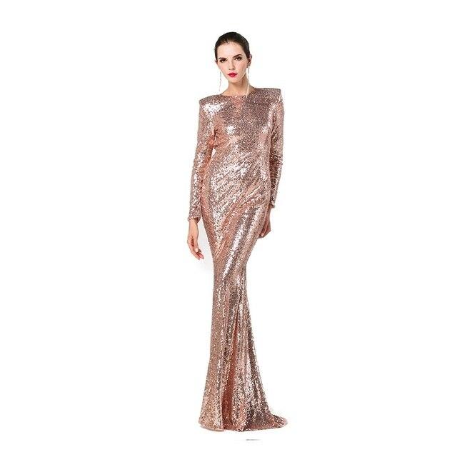 Gold Sequin Dress Long Mermaid Formal Dress Long Sleeves Open Back