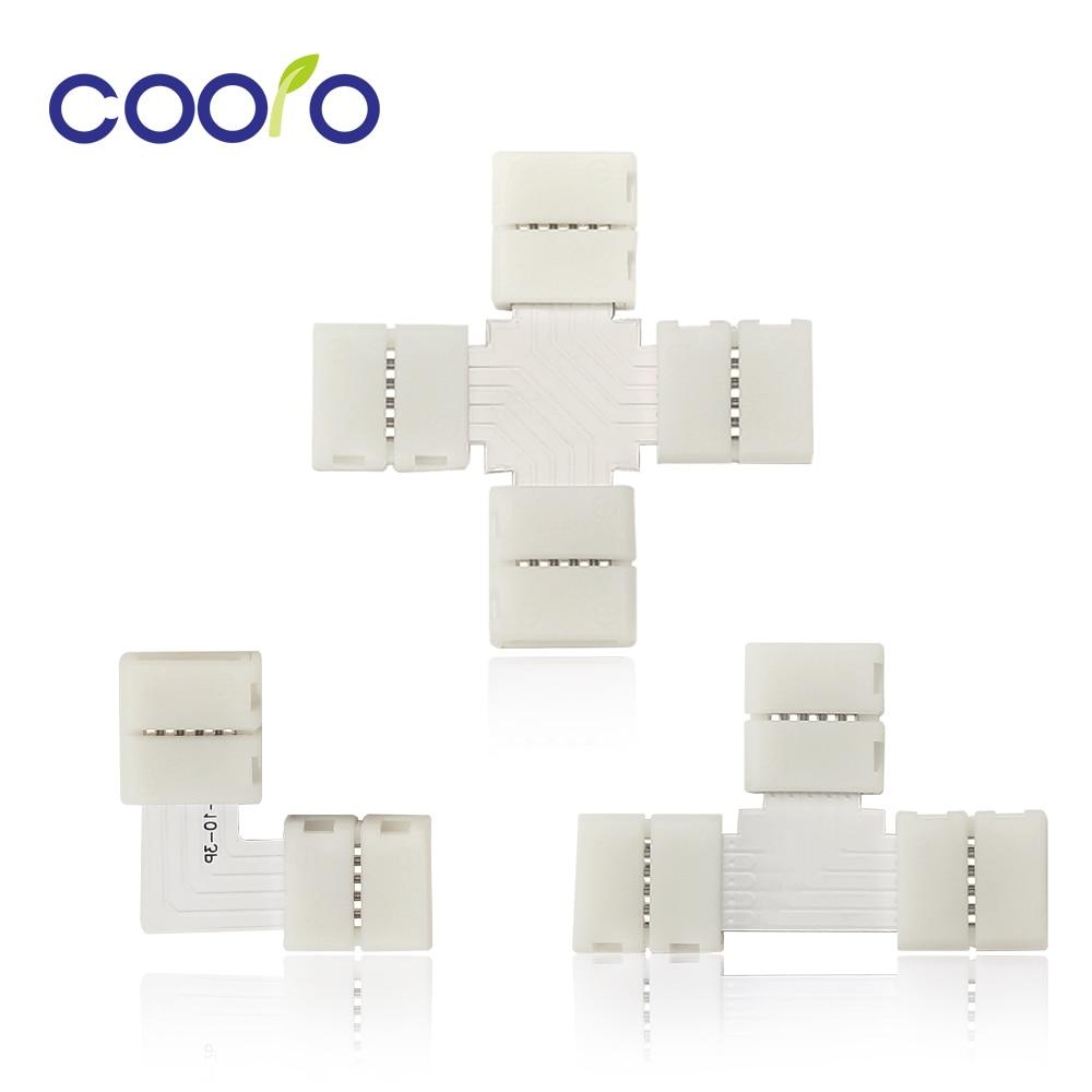 LED Strip Connectors 2Pin 4 Pin 5 Pin 10mm Free Welding Connector L Shape T Shape X Shape For LED Strip Light 5pcs/lot