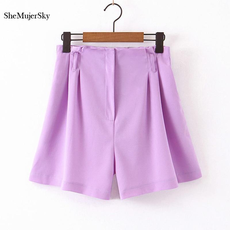 SheMujerSky Shorts Women Solid Color Short Pants Women Suit Pants Yellow Purple Shorts Pantalon Corto 2019