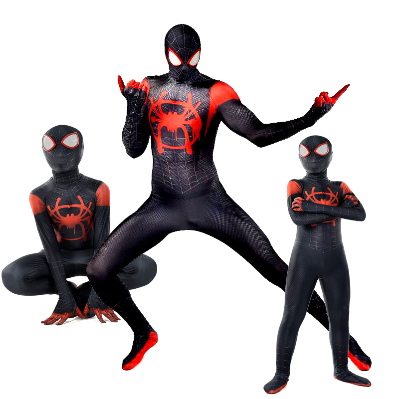 Spider-Man Into the Spider-Verse Miles Morales Zentai Adult Kids Cosplay Costume
