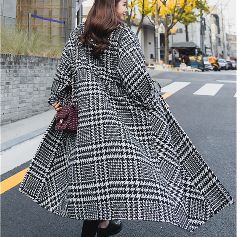 Woolen Jacket Women Winter Houndstooth Woolen Coats Large Size Long Outerwear Thick Warm Loose Woolen Cloth Coats IOQRCJV Q035