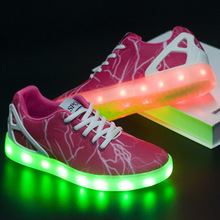 New Style Men and Womenlight Up Shoes USB Charging LED Colorful Cool Lights Luminous Light 7 Colors Trend Sports Flat Shoes