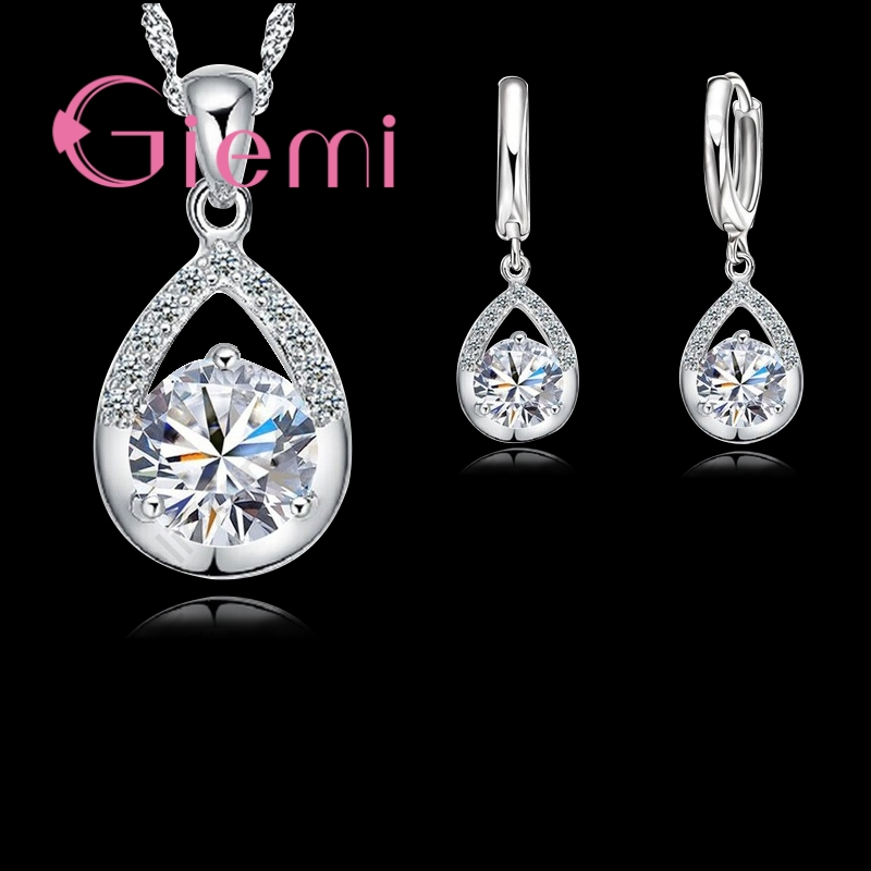 Big Promotion Water Drop Women Party Jewelry Set 925 Sterling Silver Necklace Earrings Set With Shiny CZ