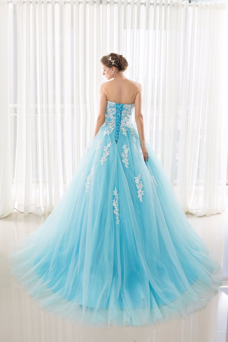 Image 2 - In Stock Sweetheart Blue Quinceanera Dresses Ball Gowns With  Appliques Lace Up Sweet 16 Dresses Vestidos De 15 Years Party Gowns15  years partyvestidos de 1515 years