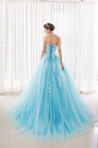 Image 2 - במלאי מתוקה כחול Quinceanera שמלות כדור כותנות עם אפליקציות תחרה עד מתוקה 16 שמלות Vestidos דה 15 שנים המפלגה שמלות