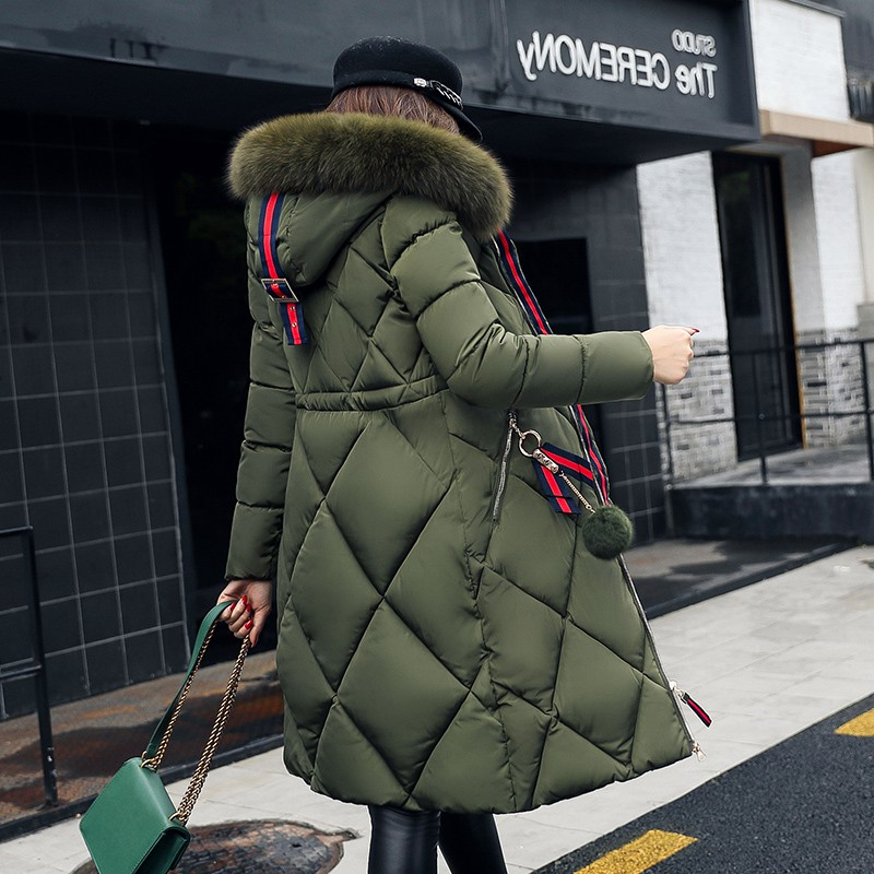 2018 Casual Women Winter Female Loose Warm Hooded Parkas Plus Size 2XL Jackets And   Coats   Long Sleeve Big Fur Collar   Down     Coat
