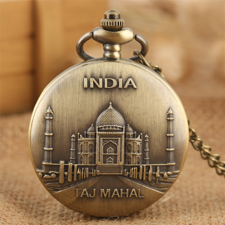 India Taj Mahal Display Bronze Exquisite Pocket Watch Quartz Necklace Pendant Clock Full Hunter With Fob Chain Souvenir Item