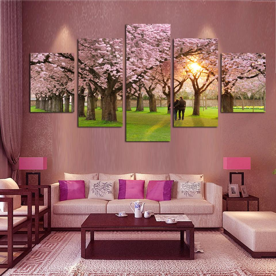 5 Piece Art Canvas Romantic Wall Art Tree Picture Sakura Painting Cherry  Blossoms Painting Large Wall Pictures For Living Room