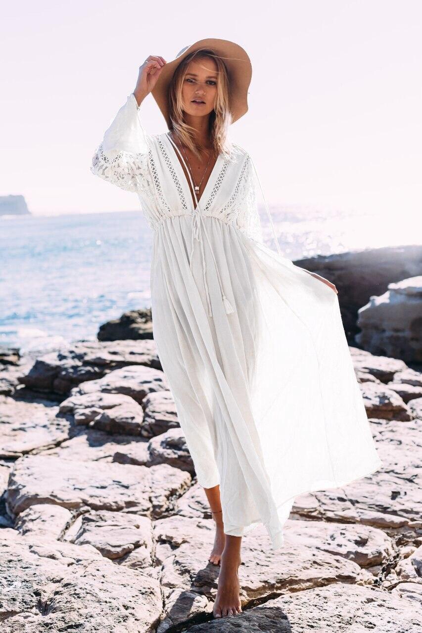 2018 Pareo Beach Cover Up Lace Embroidery Bikini Cover Up Swimwear Women Crochet Robe De Plage Beach Long Dress Bathing Suit