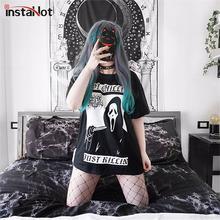 InstaHot Dark Shock Face Black Printed T-Shirt Gothic Loose Punk Harajuku Streetwear Summer Short Sleeve 2019 tshirt Halloween