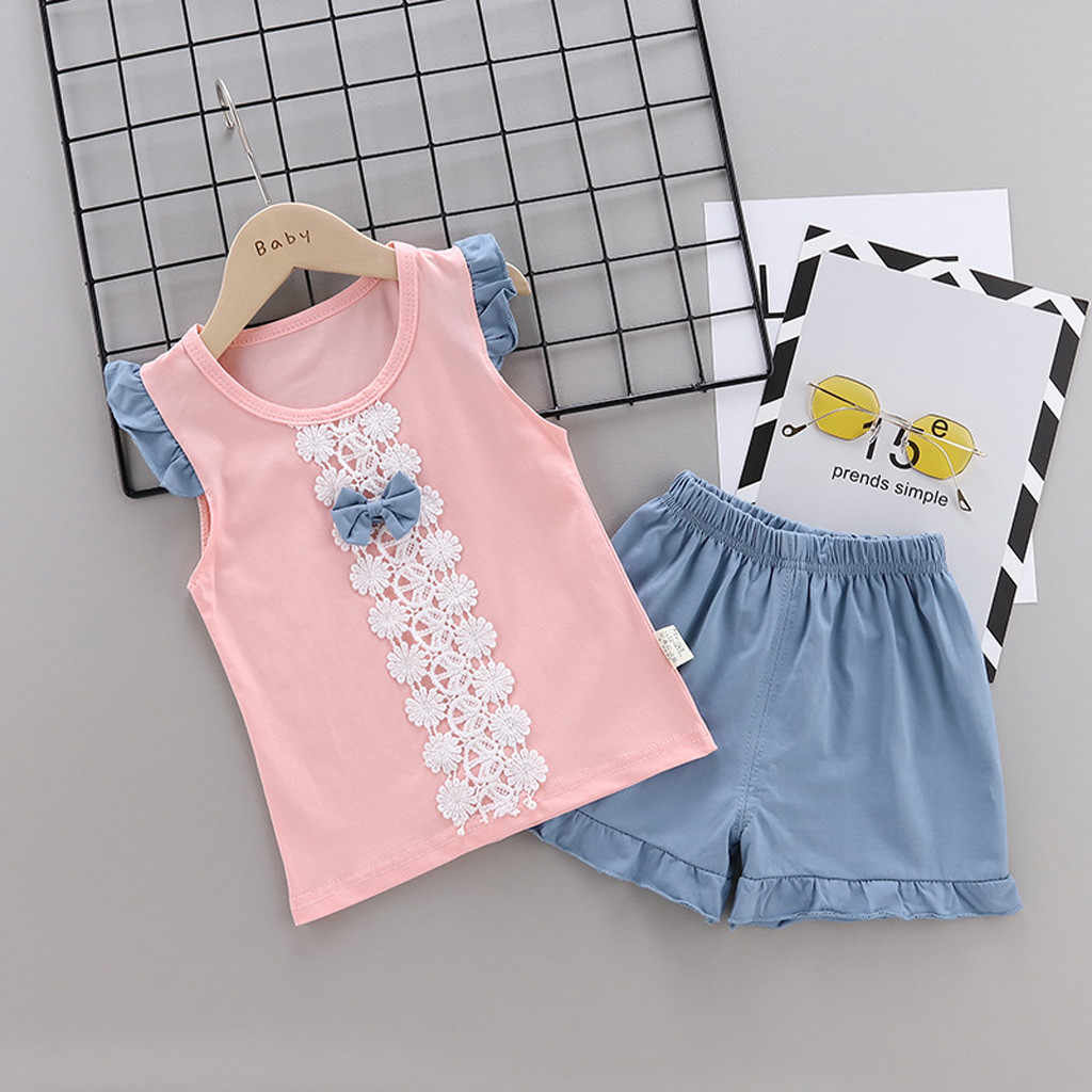 Toddler Kids Baby Girl Lace Flower Bowknot T shirt Tops+Shorts Pants 2Piece Sets Child Clothes Outfits 1-5 Years birthday Suit
