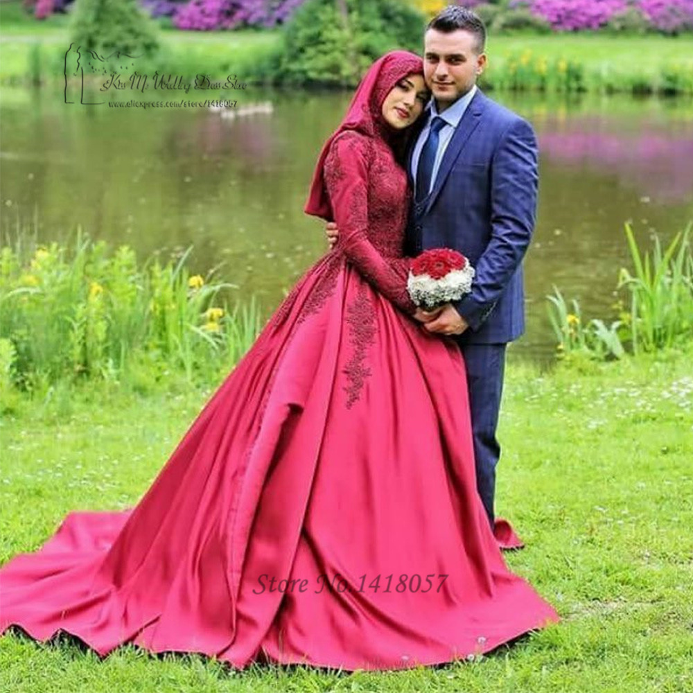 Red Islamic Long Sleeve Muslim Wedding Dress With font b Hijab b font Lace Wedding Gowns