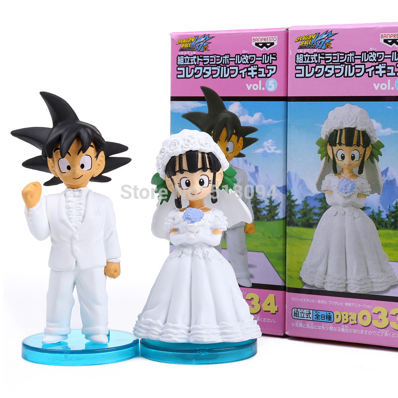 Anime Dragon Ball Goku ChiChi Wedding PVC Action Figure Toys 8cm set of 2 DBFG040 8pcs set anime how to train your dragon 2 action figure toys night fury toothless gronckle deadly nadder dragon toys for boys