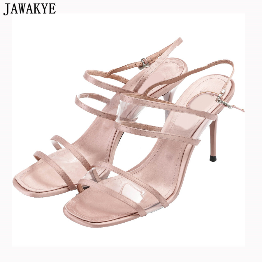 все цены на 2018 Newest clear PVC Sandals women black apricot sexy ladies high Heels summer shoes satin wedding shoes zapatos mujer онлайн