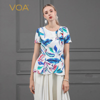 VOA Harajuku Print 100% Heavy Silk T Shirt Casual Short Sleeve Tees Ladies Tops Women Clothing Pearl Beading Designer Basic B727