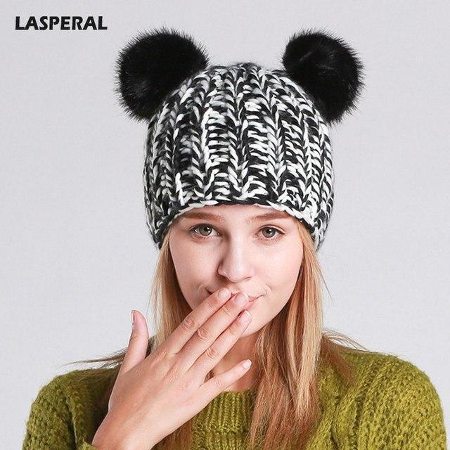 4d7d91945d4 LASPERAL 2017 Multi-style Pom Poms Winter Fur Ball Hats For Women Girl  s Hat  Knitting Beanies Kawaii Cute Warm Panda Caps