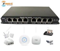 Гигабитная мощность через Ethernet PoE коммутатор 7 PoE порт + 1 UPlink порт для CCTV IP камера WiFi точка доступа 24 в 48 в