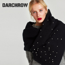 DARCHROW Elegant Pearl Scarf Decorated Shawls Women Winter Poncho Solid Faux Cashmere Cachecol Stole Scarves for Women Ladies
