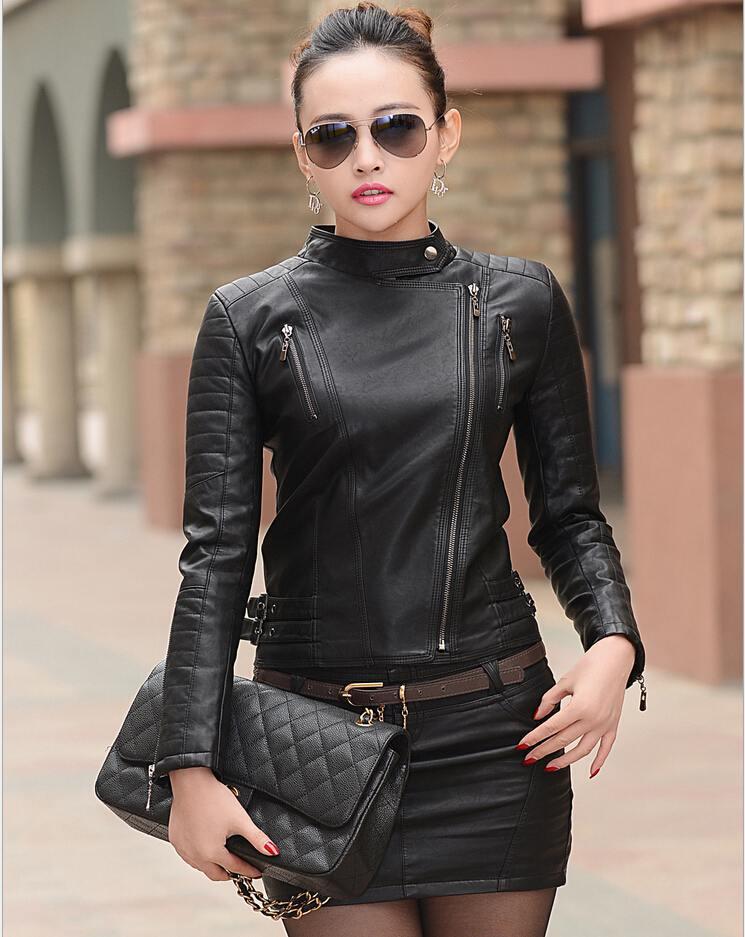 b61d1c0a832cc 2015 bombardero moda para mujer chaqueta De cuero chaquetas De cuero y  abrigos chaqueta negro Jaqueta De Couro Feminina más el tamaño M 5XL en  Cuero y Suede ...
