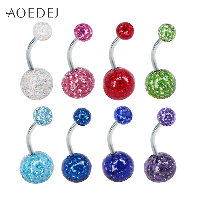 AOEDEJ Belly Jewelry Crystal Ball Belly Button Piercing Jewelry 14g Bar Navel Ring Crystal Never Fall Body Piercing Jewellery