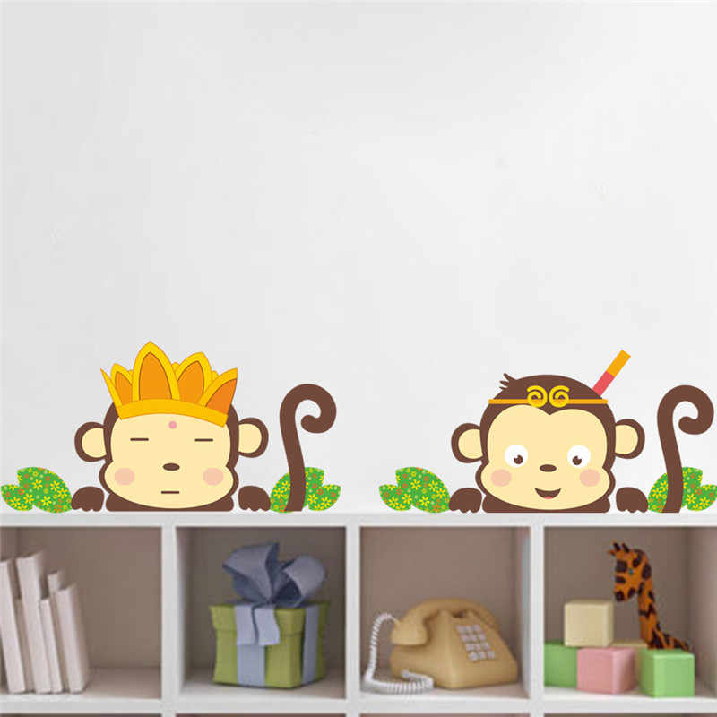 Lovely Monkeys Wall Stickers Decals Children Animals Plants Wallpaper Mural S Boys Kids Home Bedroom Nursery Room Decor