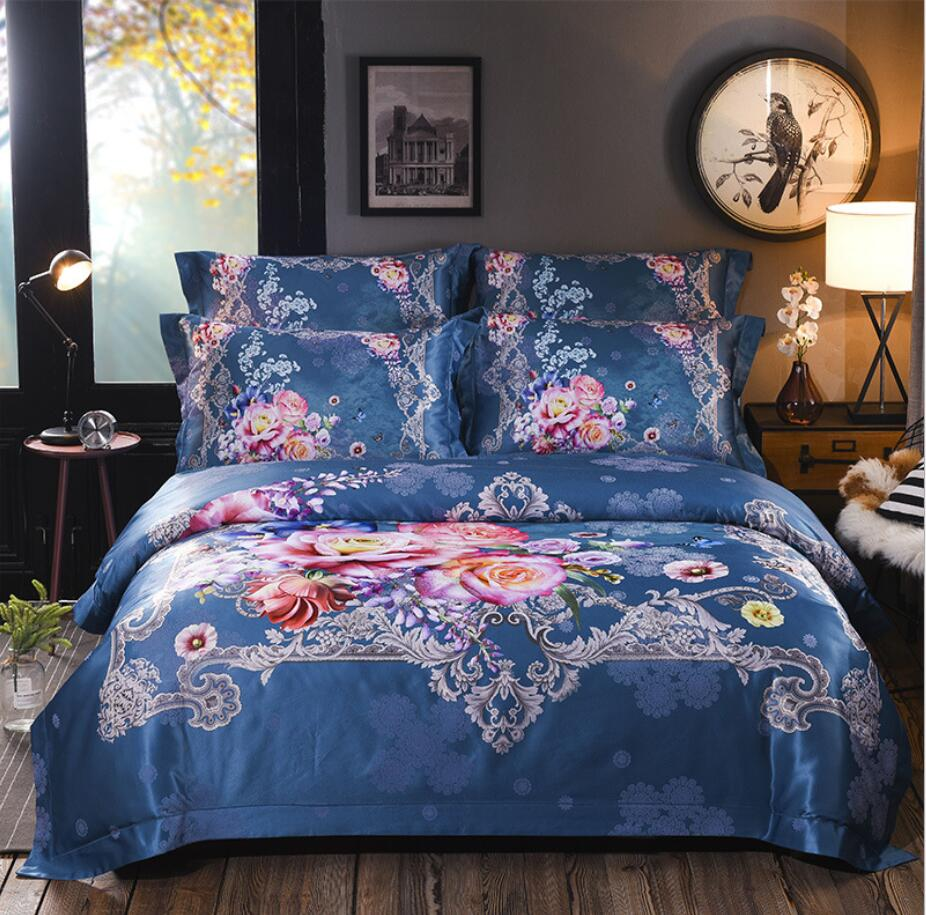 2019 Digital printing bedding sets Luxury Jacquard Satin Bedclothes Bed set 4pcs Boho duvet cover bedsheet pillowcase Queen King2019 Digital printing bedding sets Luxury Jacquard Satin Bedclothes Bed set 4pcs Boho duvet cover bedsheet pillowcase Queen King