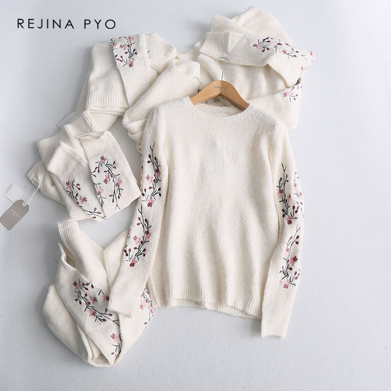 REJINAPYO Women White Embroidery Floral Knitted Sweater Female Loose O-neck Comf
