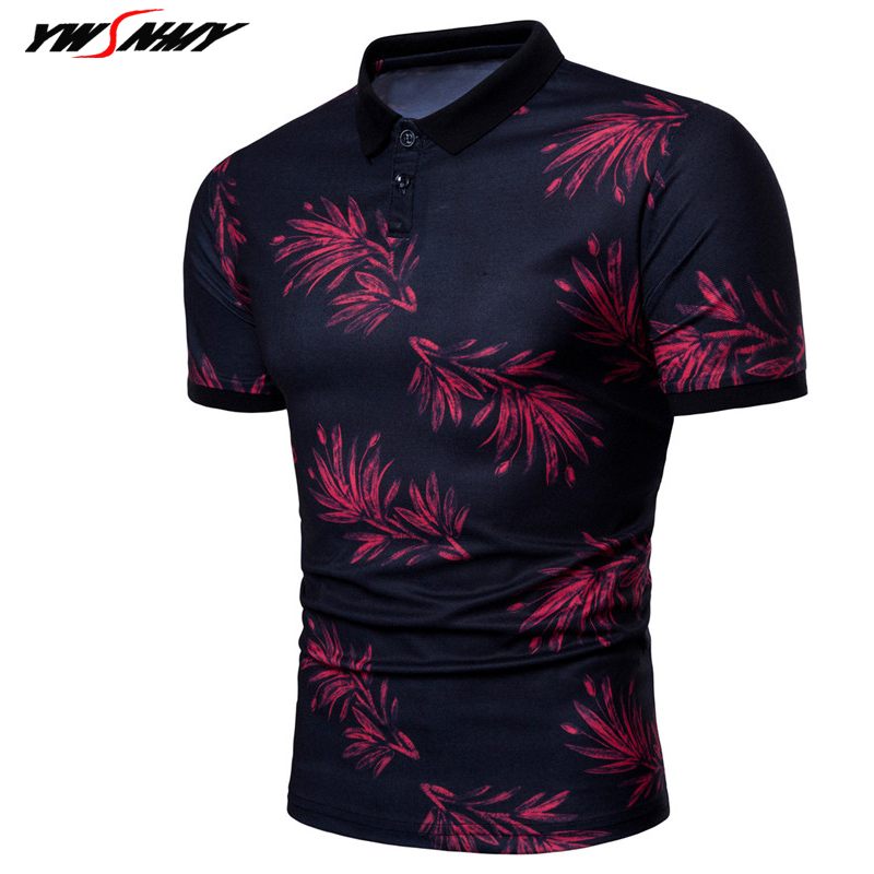 2018 Summer Leaves Printed Lapel Polo Shirt Men's Short Sleeve Casual Men Shirts Slim Fit Polo Homme Cotton Mens Polos Camisa