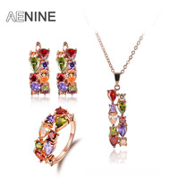 AENINE Luxury Multicolor Cubic Zirconia Jewelry Sets Necklace Earrings Ring Rose Gold Color Vintage Jewelry Set