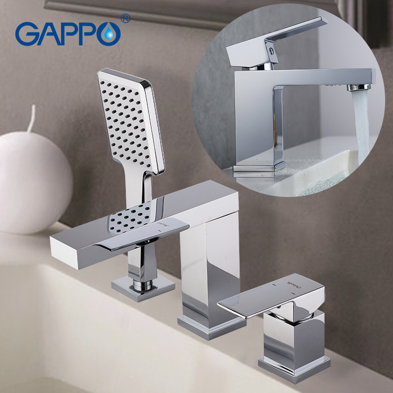 GAPPO Shower Faucets brass waterfall faucet basin mixer tap bathroom brass water sink mixer deck mounted mixer tap faucet gappo crystal water faucet basin sink faucet deck mounted bathroom faucet mixer tap waterfall tap torneira grifo ga1097 4
