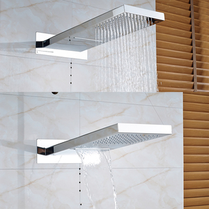 Image 2 - Quyanre Chrome Thermostatic Shower Faucets Set Rain Waterfall Shower 6pcs Spa Jets 4 way Thermostatic Mixer Tap Bath Shower Kit