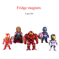 5pcs/lot Cartoon series anime characters Marvel hero Iron man 3D fridge magnets Toy Figures Refrigerator magnets Children toys
