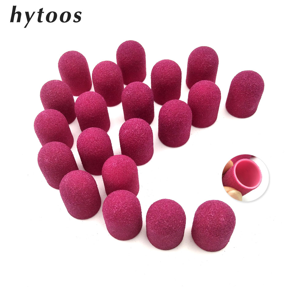 20Pcs 16*25mm Purple Plastic Sanding Caps With Grip Pedicure Care Polishing Sand Block Nail Drill Accessories Foot Cuticle Tool