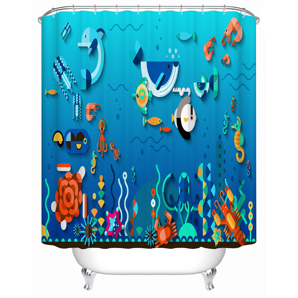 2017 New Blue Sea World Shower Curtain Animal Zoo <font><b>Kids</b></font> Bathroom Decorative Curtain 3d Print Fabric Polyester Bath Curtain Set