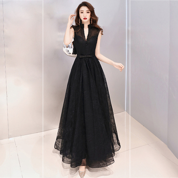 Backless Summer New Real Photo High Neck Lace Fabric Black Color Plus sizes Evening Gown prom dresses Robe De Soiree 2019