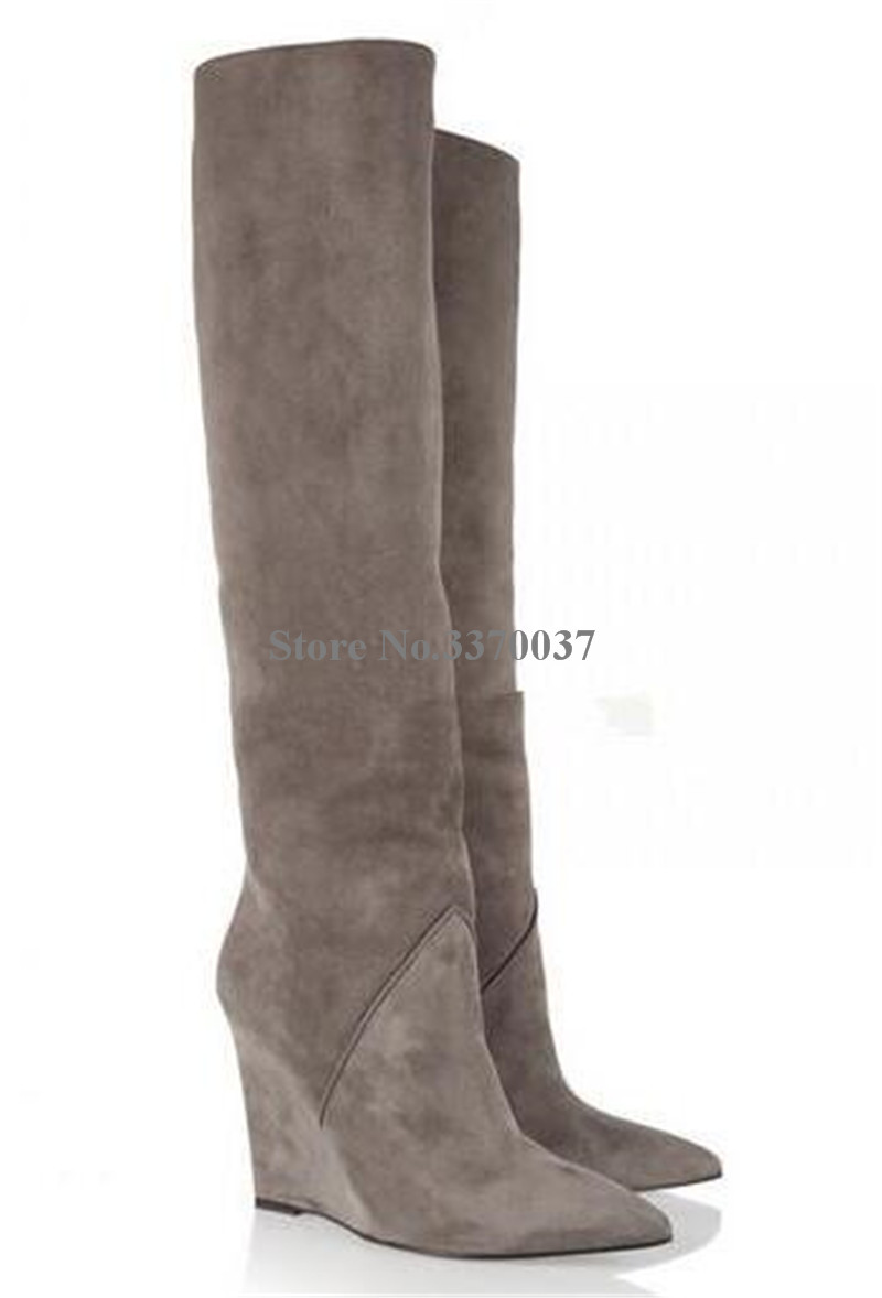 Frauen Mode Design Spitz Wildleder Leder Knie Hohe Keil Stiefel Winter Charming Super High Heel Keil Lange Stiefel - 2
