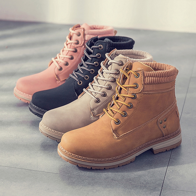 Women Casual Fashion Martin Ankle Boots Woman Snow Flat Shoes Winter Warm Outdoor Comfortable Lace Up