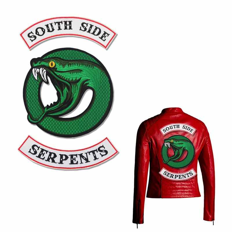 Riverdale Green Snake Southside Serpent DIY Iron On Embrodered Patches For Clothing Jacket Backpack Appliqued Badges Y-197