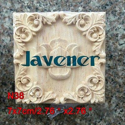 N38 -7x7cm Wood Carved Long Square Applique Flower Frame Door Decal Working Carpenter