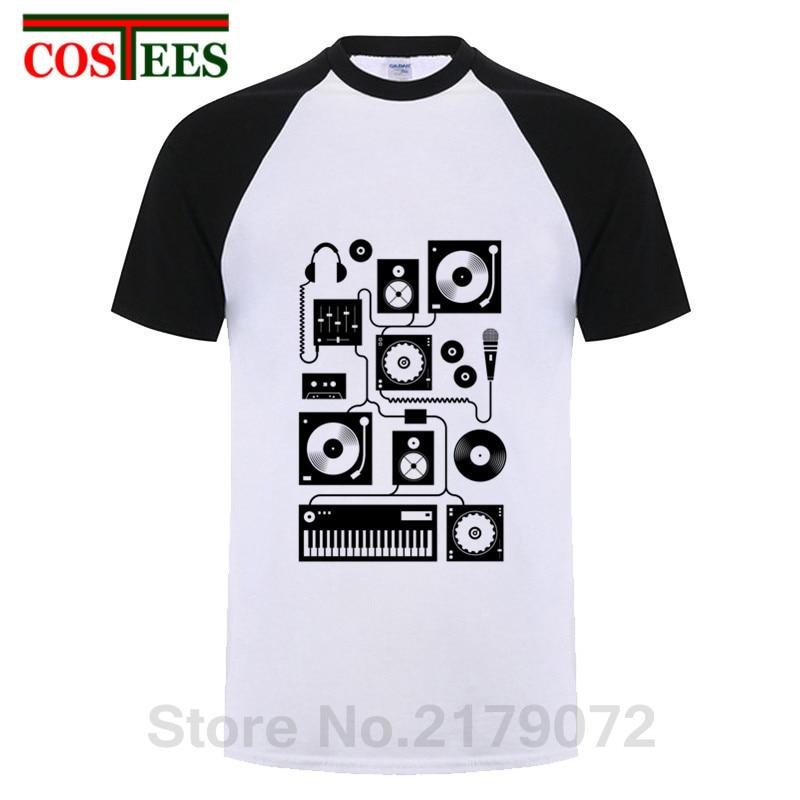 2019 Vintage Summer Vestido Hip hop Tee Punk DJ Rock music T shirts men Funny gramophone T-shirt Headphone Punky Retro Tee shirt