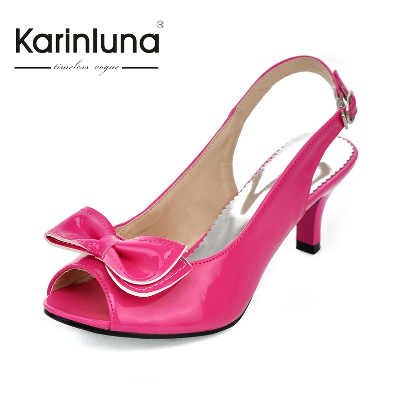 ФОТО KARINLUNA New Small Big Size 30-46 Peep Toe Women Sandals Med Heels Bowtie Buckle Strap Party Woman Shoes Candy Colors