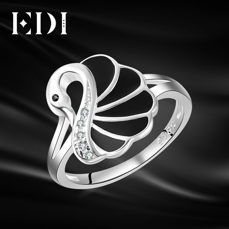 EDI Trendy Swan Shape Animal 100% 925 Sterling Silver Rings For Women Ctue Jewelry Christmas Gifts trendy christmas style elk shape cuff ring for women