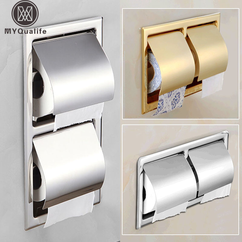 Best Quality Wall Mount Double Stainless Steel Toiket Paper Holder Bathroom Paper Tissure Box Chrome/golden 3 Style best quality double sortie12v 24v 150w
