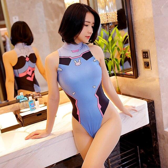 Anime Cosplay 3D Printing Overwatches Lady D VA Mercy Sexy Costume for Women Halloween Erotic Lingeire Sleeveless Underwear Dva 5
