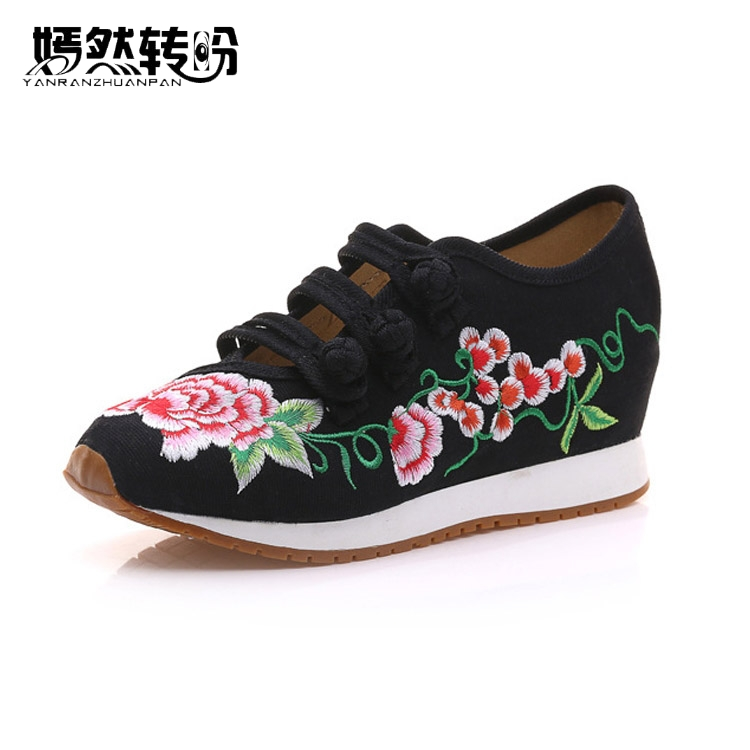 Chinese Women Shoes Vintage Casual Embroidery Comfortable Fashion Breathable Travel Walk Shoes Woman Zapatos Mujer new brand black white vintage women footwear lace up casual oxford flat shoes woman british style breathable zapatos mujer