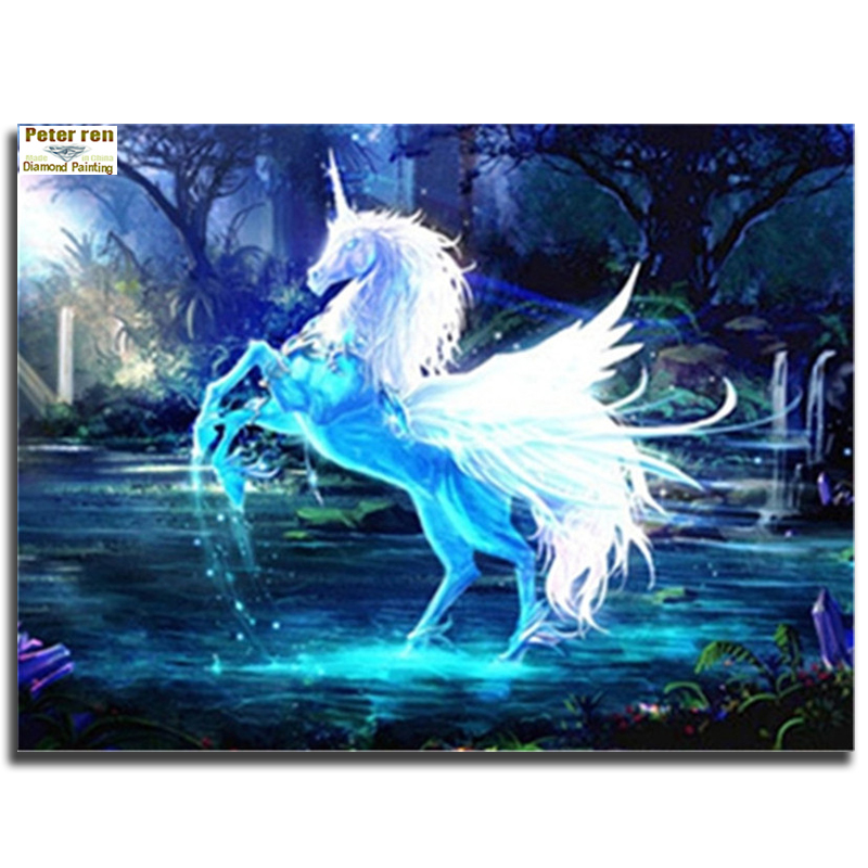 Peter ren full embroidery DIY Crafts Diamond painting kit Unicornio 3d square mosaic Icon Rhinestone paintings Horse in the pond