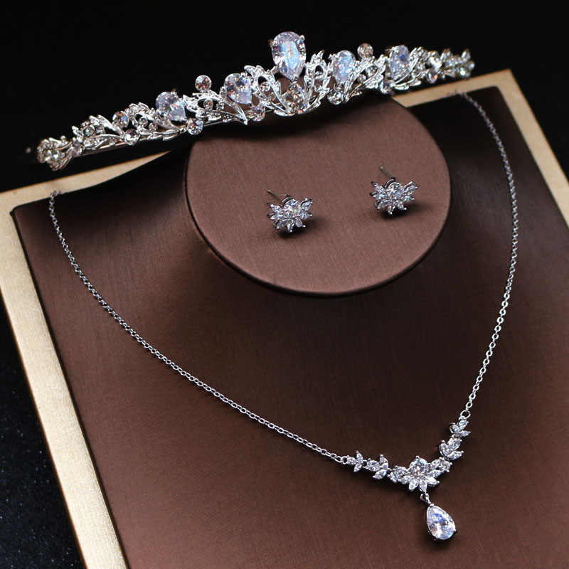 Jonnafe Fashion Zircon Bridal Necklace Earrings Set Silver Women Pageant Prom Jewelry Sets with tiara Wedding Accessories